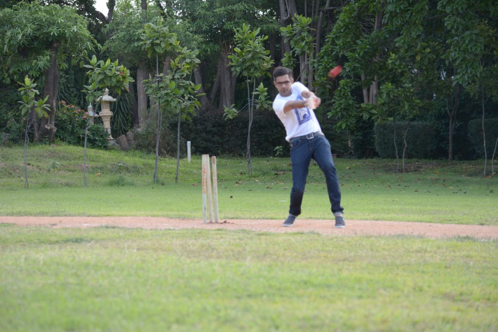 A batsman trying to thwart allegation.