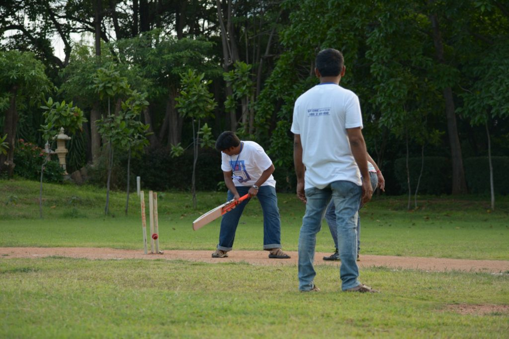 A batsman bowled by allegation he could not handle.
