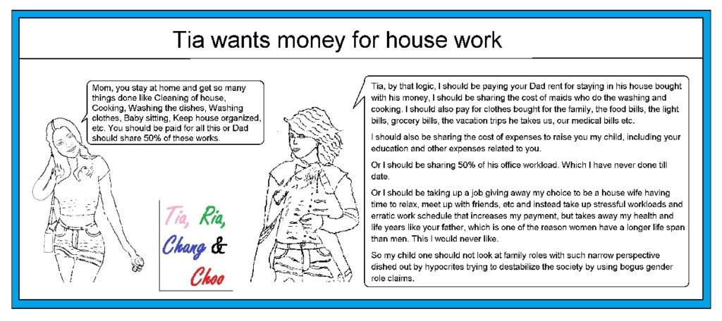 Tia wants money for house work